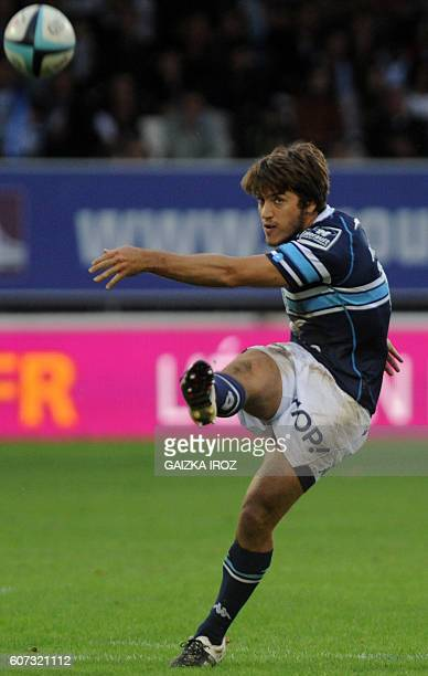Montpellier's flyhalf Demetri Catrakilis kicks the ball during the French Top 14 rugby union match between Bayonne and Montpellier at the Jean Dauger...