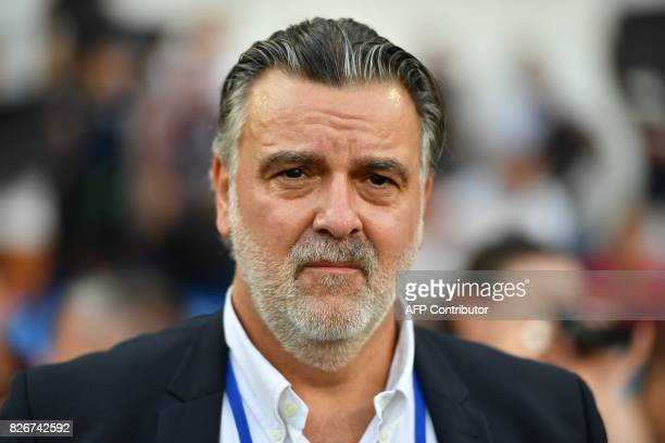 Montpellier's French club president Laurent Nicollin looks on during the French L1 football match between MHSC Montpellier and Caen on August 5 2017...