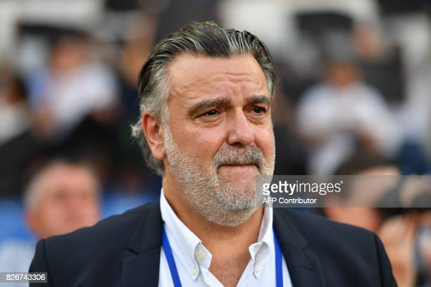 Montpellier's French club president Laurent Nicollin reacts during the French L1 football match between MHSC Montpellier and Caen on August 5 2017 at...