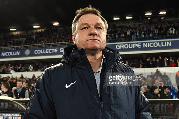 Montpellier's French coach Frederic Hantz looks on during the French L1 football match between Montpellier and Marseille on February 2 2016 at the La...