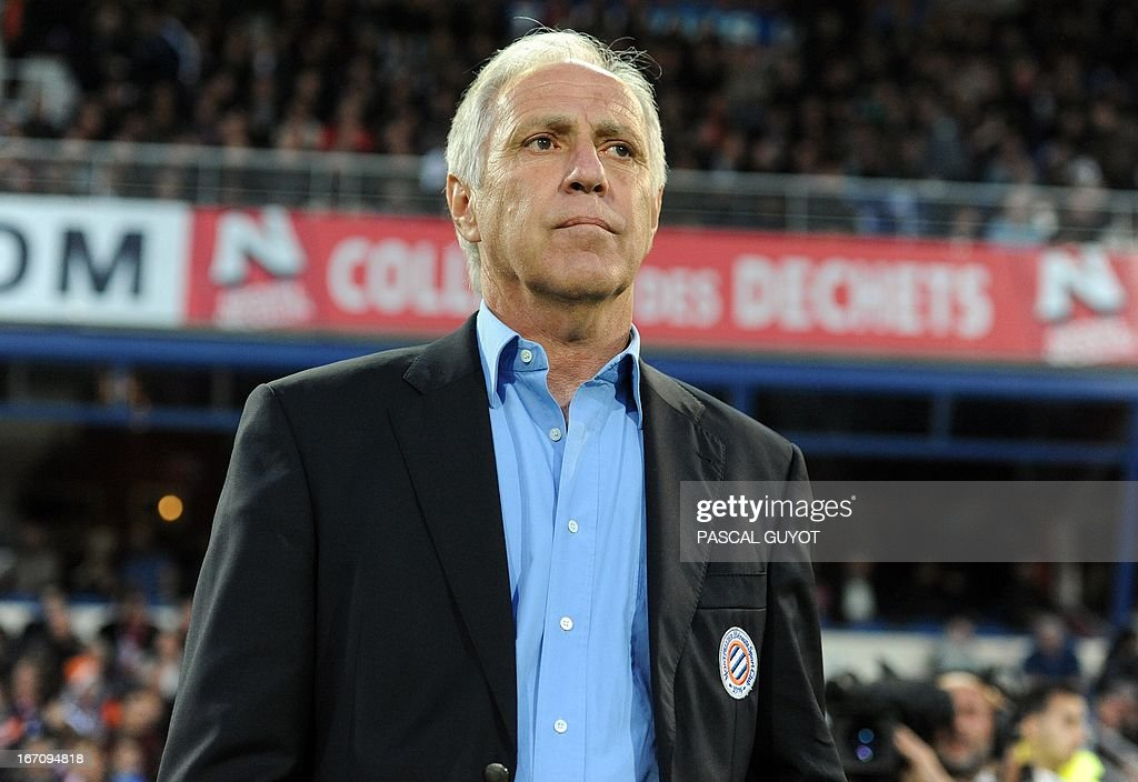 Montpellier's French coach Rene Girard attends to the French L1 football match Montpellier vs Lyon on April 19, 2013 at the Mosson stadium in Montpellier, southern France.
