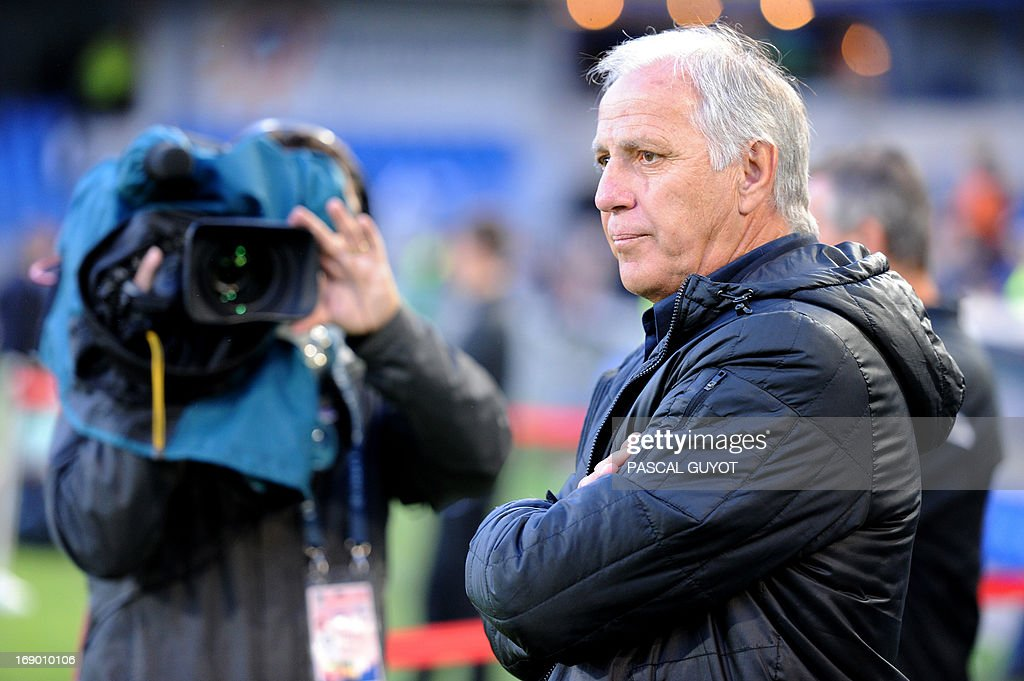 Montpellier's French coach Rene Girard looks on during the French L1 football match Montpellier vs Lille on May 18, 2013 at the Mosson stadium in Montpellier, southern France. The match ended in a 0-0 draw. AFP PHOTO / PASCAL GUYOT