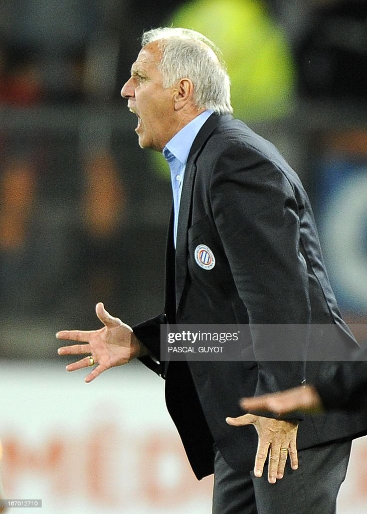 Montpellier's French coach Rene Girard reacts during the French L1 football match Montpellier vs Lyon on April 19, 2013 at the Mosson stadium in Montpellier, southern France.