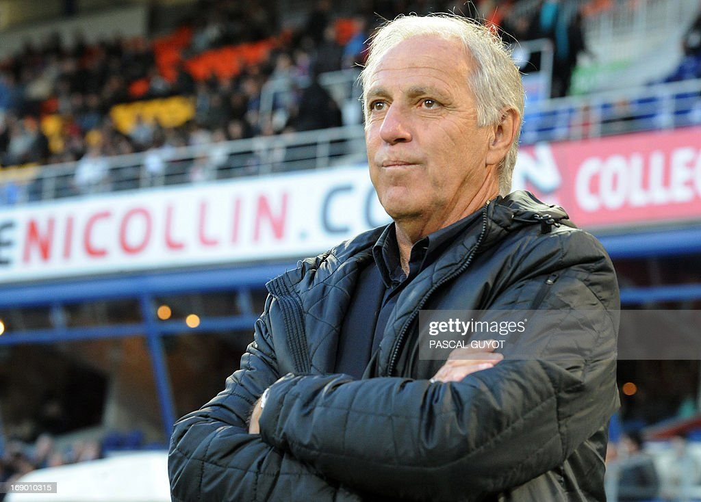 Montpellier's French coach Rene Girard reacts during the French L1 football match Montpellier vs Lille on May 18, 2013 at the Mosson stadium in Montpellier, southern France.