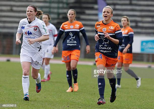 Montpellier's French defender Marion Torrent reacts during the French Women's Division 1 football match between Juvisy and Montpellier at Robert...