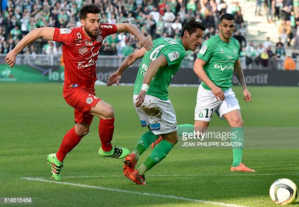 Montpellier's French defender Mathieu Deplagne vies with SaintEtienne's French midfielder Jeremy Clement during the French L1 football match...