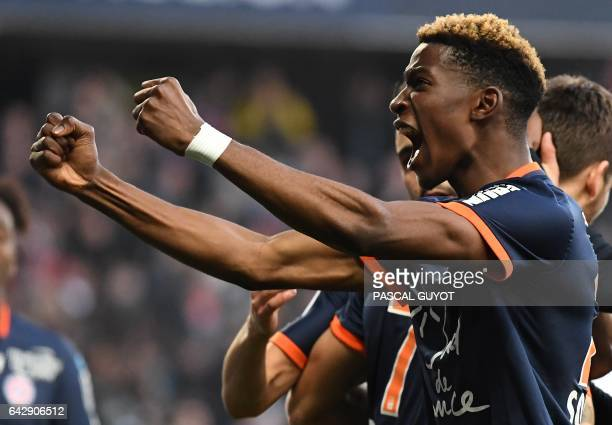 Montpellier's French defender Nordi Mukiele reacts after his teammate scored a goal during the French L1 football match between MHSC Montpellier and...