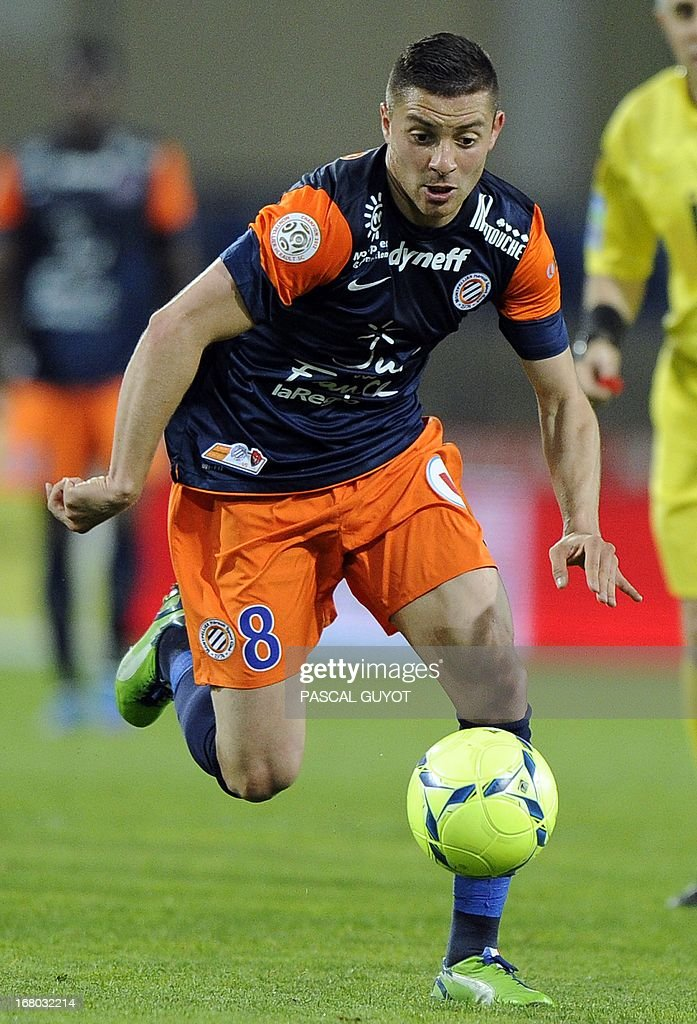 Montpellier's French forward Anthony Mounier runs with the ball during the French L1 football match Montpellier vs Brest on May 4, 2013 at the Mosson stadium in Montpellier, southern France.