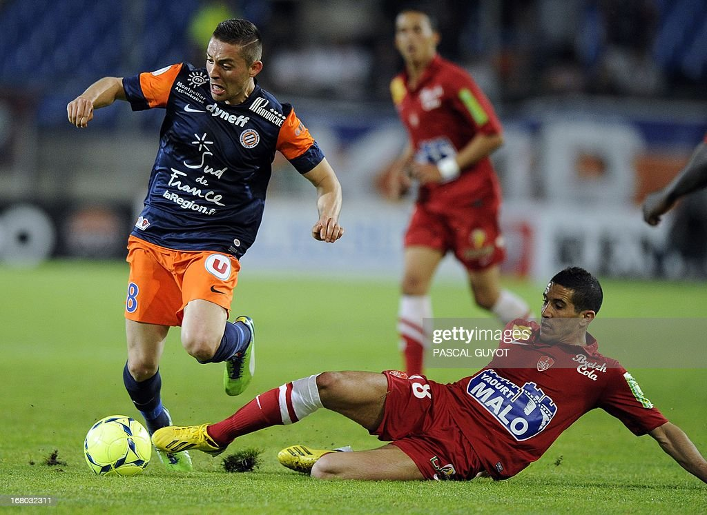 Montpellier's French forward Anthony Mounier (L) vies for the ball with Brest's French midfielder Florian Raspentino (R) during the French L1 football match Montpellier vs Brest on May 4, 2013 at the Mosson stadium in Montpellier, southern France.