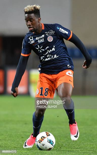 Montpellier's French forward Isaac Mbenza drives the ball during the French L1 football match between MHSC Montpellier and Lorient on April 15 2017...