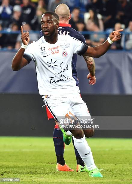 Montpellier's French forward Jonathan Ikone celebrates after scoring a goal during the French L1 football match between Caen and Montpellier on April...