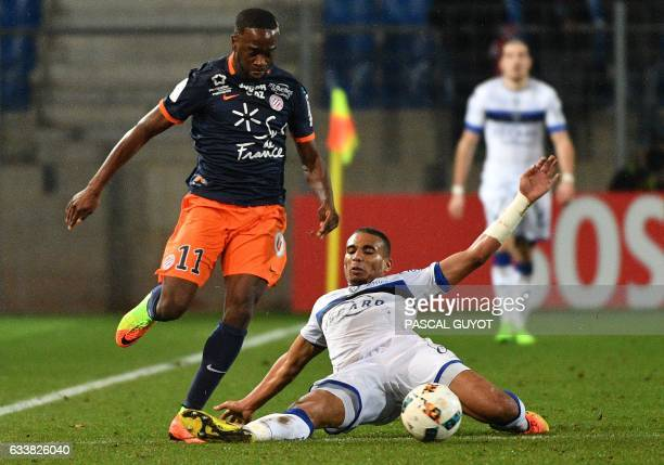Montpellier's French forward Jonathan Ikone vies with Bastia's French defender Alexander Djiku during the French Ligue 1 football match between MHSC...