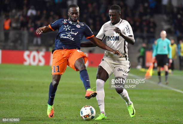 Montpellier's French forward Jonathan Ikone vies with Monaco's French defender Benjamin Mendy during the French L1 football match between MHSC...