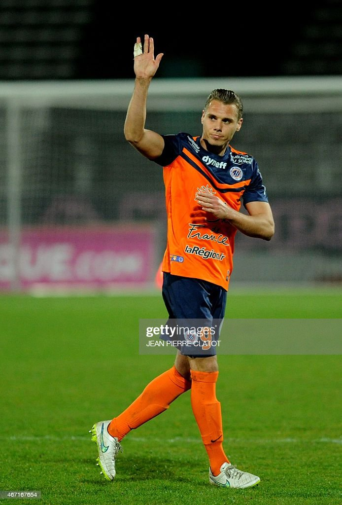 Montpellier's French forward Kevin Berigaud is pictured during the French L1 football match Evian (ETGFC) against Montpellier (HSC) on march 21, 2015 at the stadium Parc des Sports in Annecy, southern France. AFP PHOTO / JEAN-PIERRE CLATOT