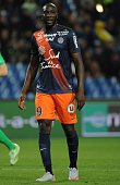 Montpellier's French forward Mustapha Yatabare reacts during the French L1 football match between Montpellier and SaintEtienne on September 12 2015...