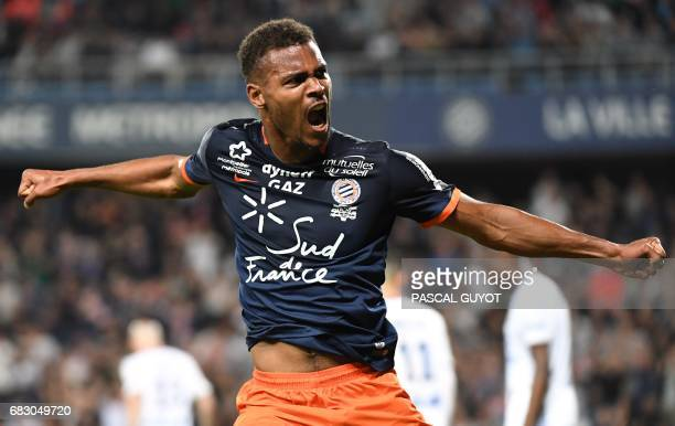 Montpellier's French forward Steve Mounié reacts after scoring a goal during the French L1 football match between Montpellier and Lyon on May 14 2017...