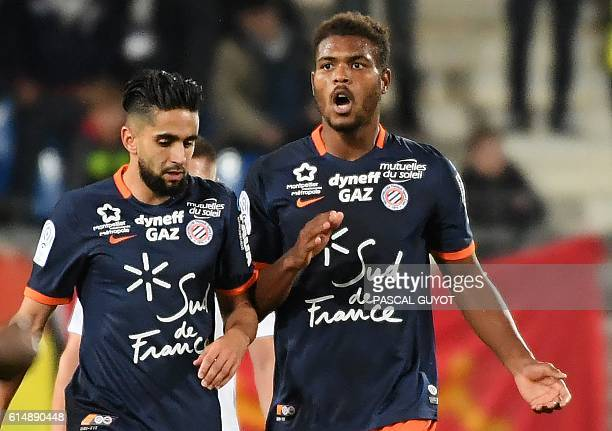 Montpellier's French forward Steve Mounie celebrates after scoring a goal during the French L1 football match between Montpellier and Caen on October...