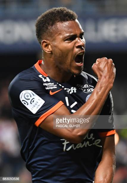Montpellier's French forward Steve Mounie reacts after scoring a goal during the French L1 football match between Montpellier and Lyon on May 14 2017...