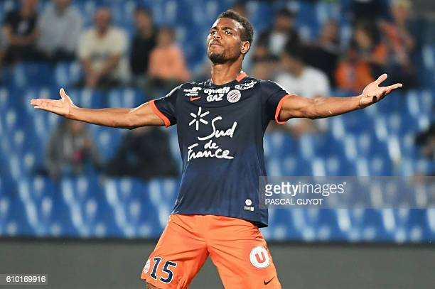 Montpellier's French forward Steve Mounie reacts during the French L1 football match between Montpellier and Metz on September 24 at the Mosson...