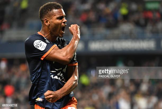 Montpellier's French forward Steve Mounie reacts during the French L1 football match between Montpellier and Lyon on May 14 2017 at the la Mosson...