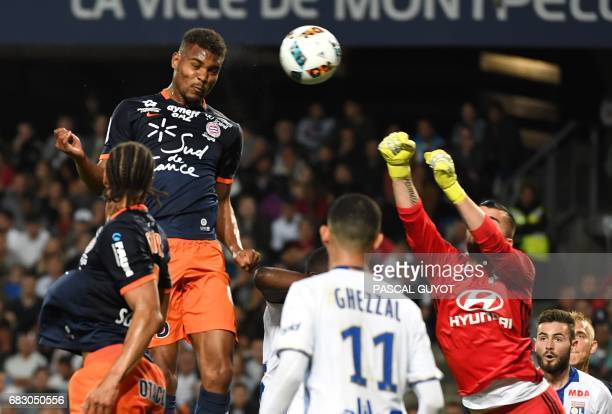 Montpellier's French forward Steve Mounie scores a goal during the French L1 football match between Montpellier and Lyon on May 14 2017 at the la...