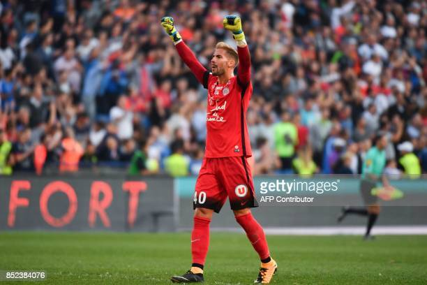 Montpellier's French goalkeeper Benjamin Lecomte reacts at the end of the French Ligue 1 football match between Paris SaintGermain and Montpellier on...