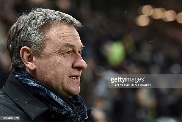 Montpellier's French head coach Frederic Hantz looks on during the French L1 football match between Nantes and Montpellier on December 21 2016 at the...