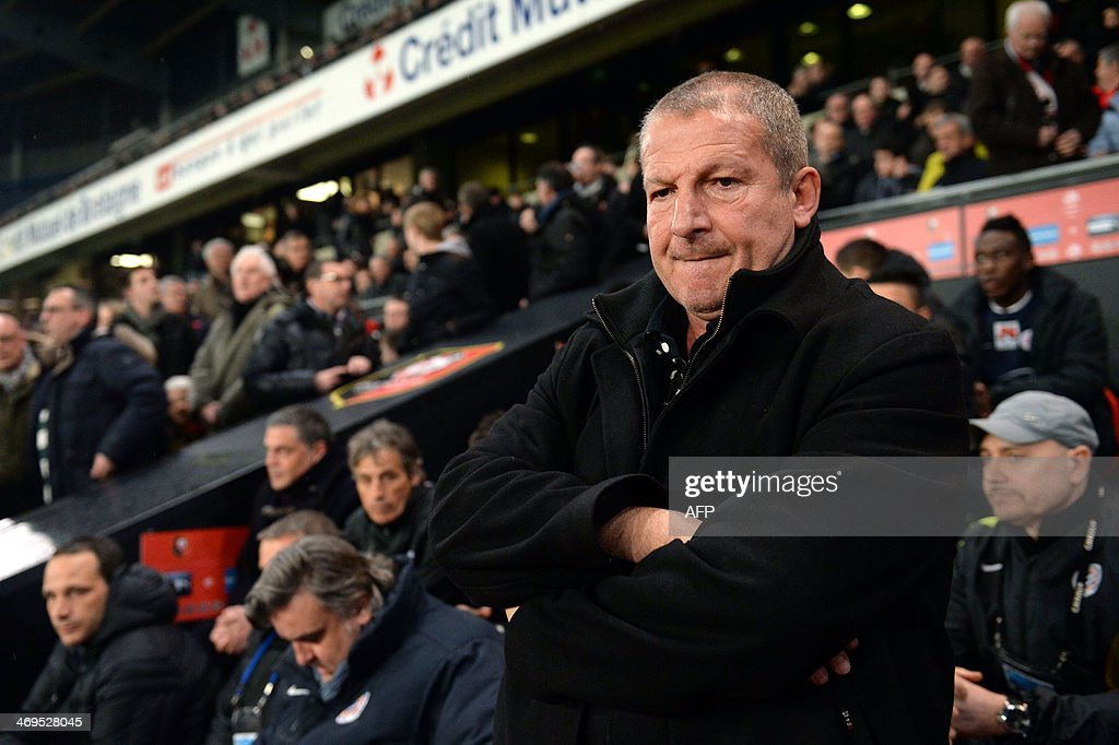 Montpellier's French head coach Rolland Courbis attends the French L1 football match Rennes vs Montpellier on February 15, 2014 at the Route de Lorient stadium in Rennes, western France.
