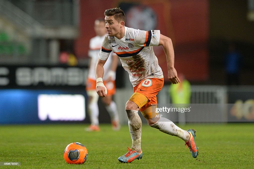 Montpellier's French midfielder Anthony Mounier competes during the French L1 football match between Rennes and Montpellier on February 15, 2014 at the Route de Lorient stadium in Rennes, western France.