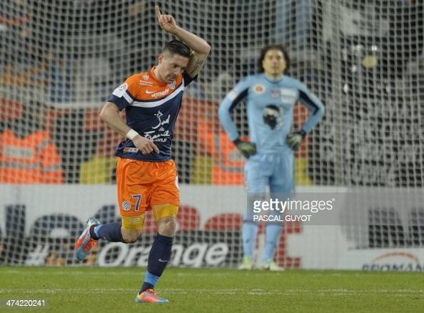 Montpellier's French midfielder Anthony Mounier reacts after scoring a goal during the French L1 football match Montpellier vs AC Ajaccio on February...