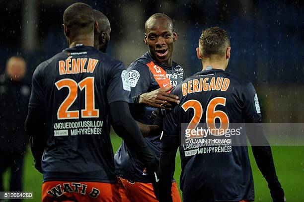 Montpellier's French midfielder Bryan Dabo celebrates with teammates after scoring a goal during the French L1 football match between Montpellier and...