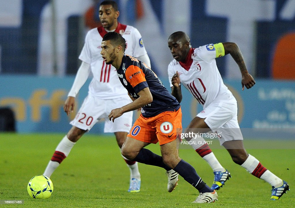 Montpellier's French midfielder Remy Cabella (C) runs with the ball during the French L1 football match Montpellier vs Lille on May 18, 2013 at the Mosson stadium in Montpellier, southern France.