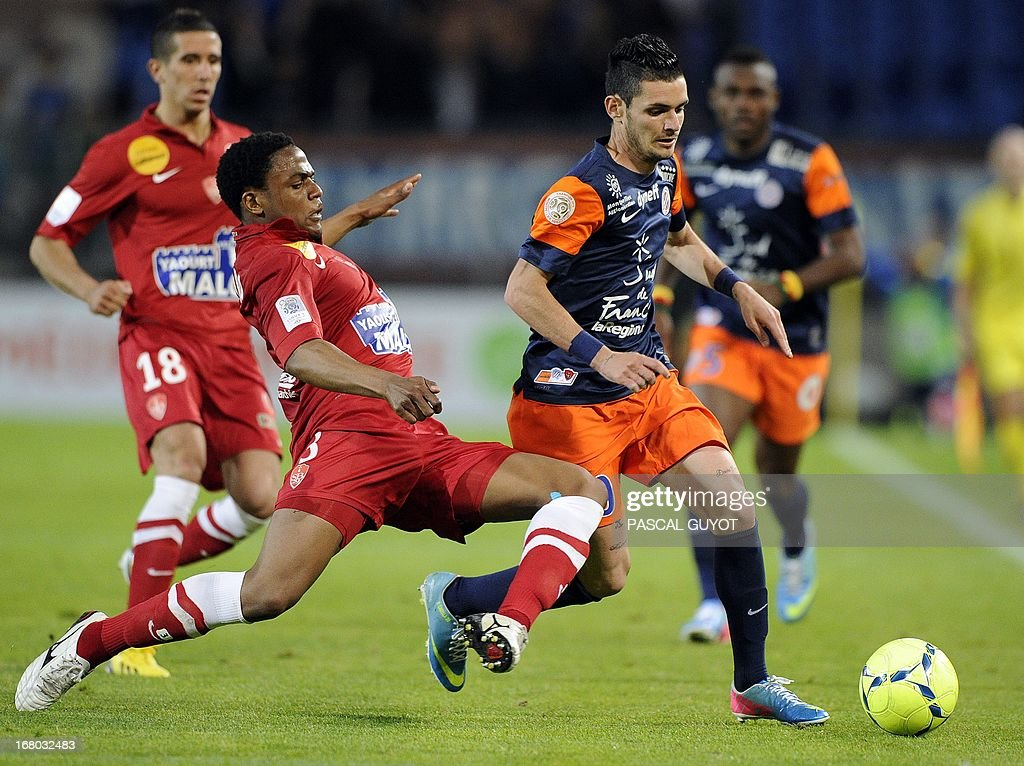 Montpellier's French midfielder Remy Cabella (R) vies with Brest's French midfielder Tripy Makonda (L) during the French L1 football match Montpellier vs Brest on May 4, 2013 at the Mosson stadium in Montpellier, southern France.