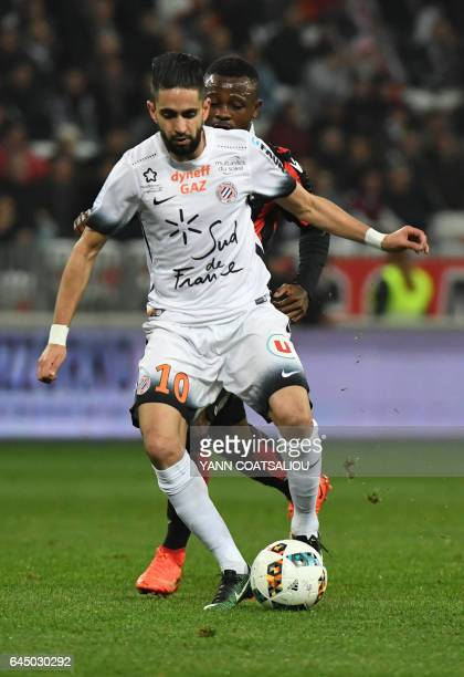 Montpellier's French midfielder Ryad Boudebouz controls the ball during the French L1 football match OGC Nice vs Montpellier HSC at the Allianz...