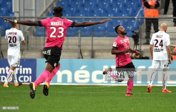 Montpellier's French midfielder Stephane Sessegnon reacts after scoring a goal during the French L1 football match between MHSC Montpellier and Nice...