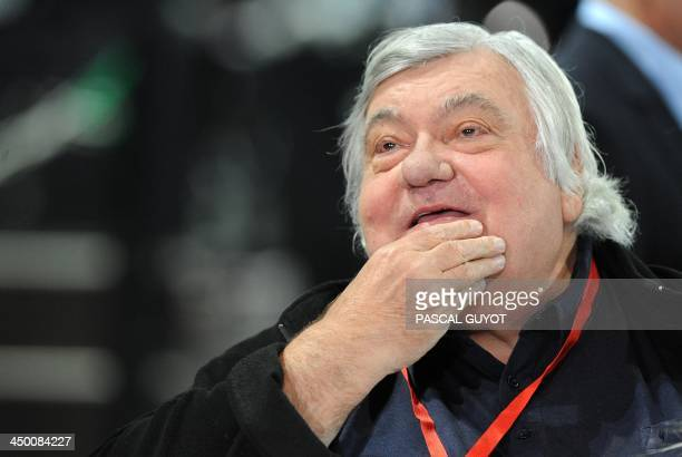 Montpellier's French president Louis Nicollin attends a futsal tournament at the Park Suites Arena in Montpellier in southern France on November 16...