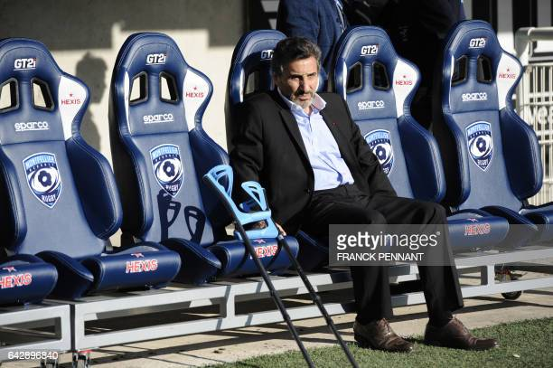 Montpellier's French president Mohed Altrad is pictured prior to the French Top 14 rugby union match Montpellier vs Toulouse on February 19 at the...