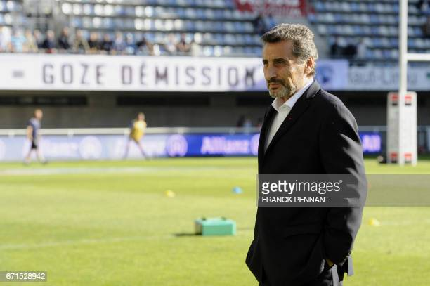 Montpellier's French President Mohed Altrad looks on prior to the French Top 14 rugby union match between Montpellier and Racing 92 on April 22 2017...