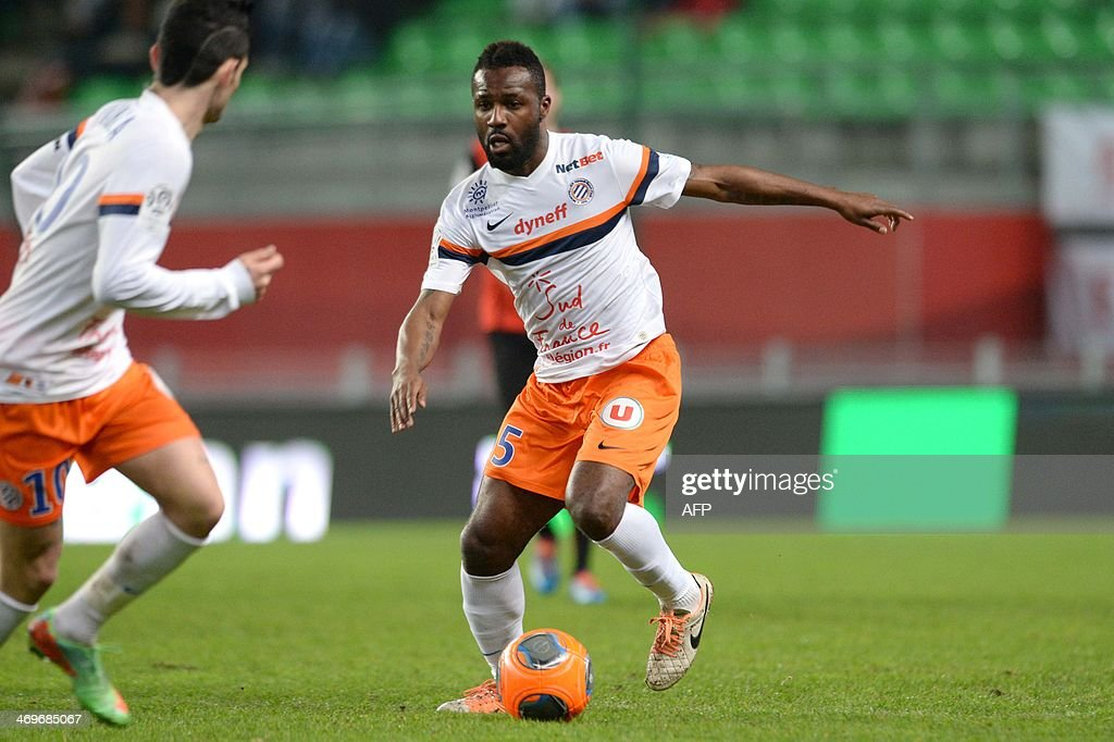 Montpellier's Ivorian defender Siaka Tiene competes during the French L1 football match between Rennes and Montpellier on February 15, 2014 at the Route de Lorient stadium in Rennes, western France.