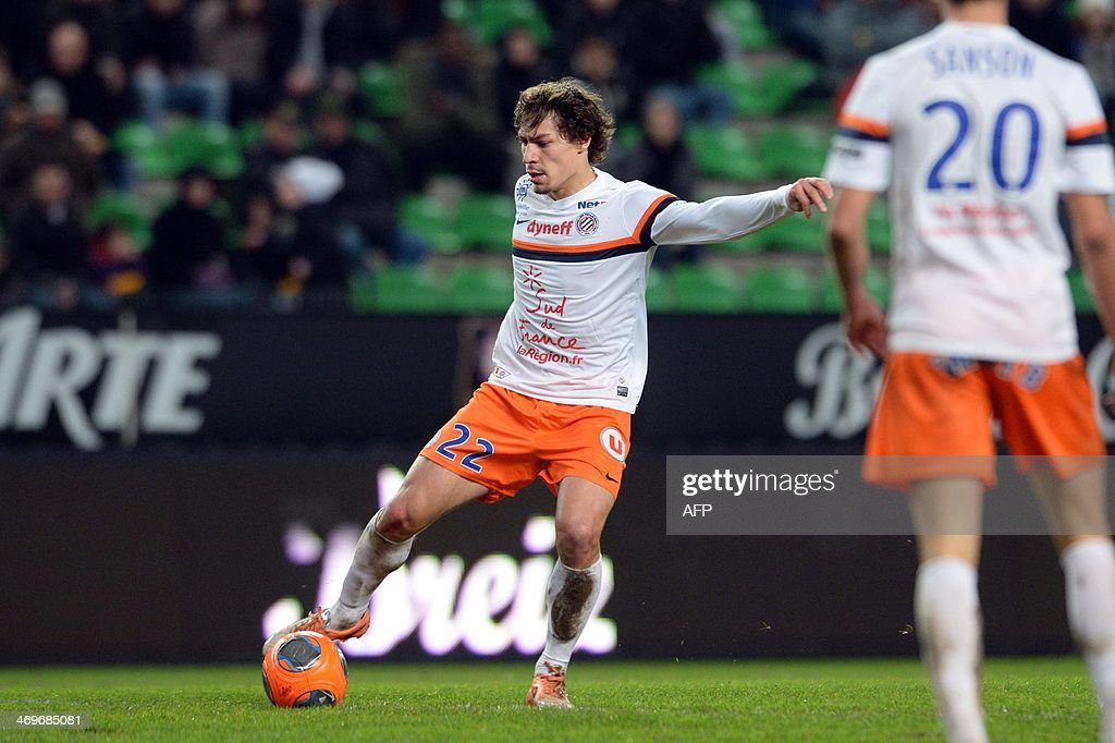 Montpellier's midfielder Benjamin Stambouli controls the ball during the French L1 football match between Rennes and Montpellier on February 15, 2014 at the Route de Lorient stadium in Rennes, western France.