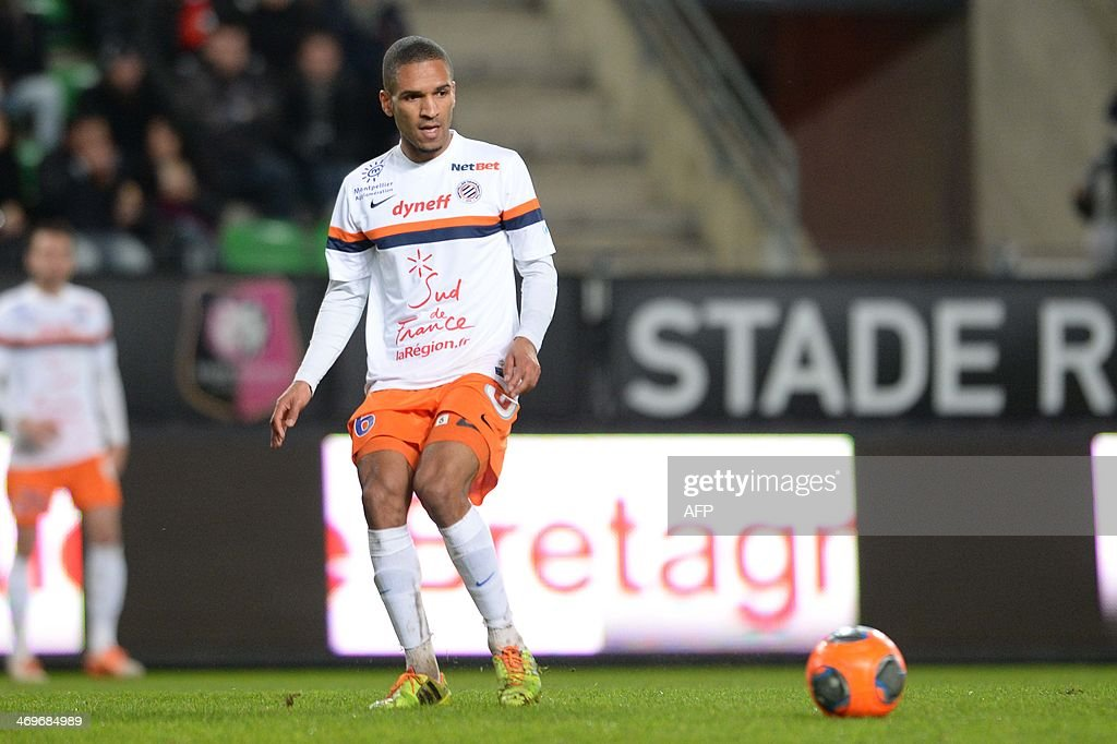 Montpellier's midfielder Joris Marveaux controls the ball during the French L1 football match between Rennes and Montpellier on February 15, 2014 at the Route de Lorient stadium in Rennes, western France.