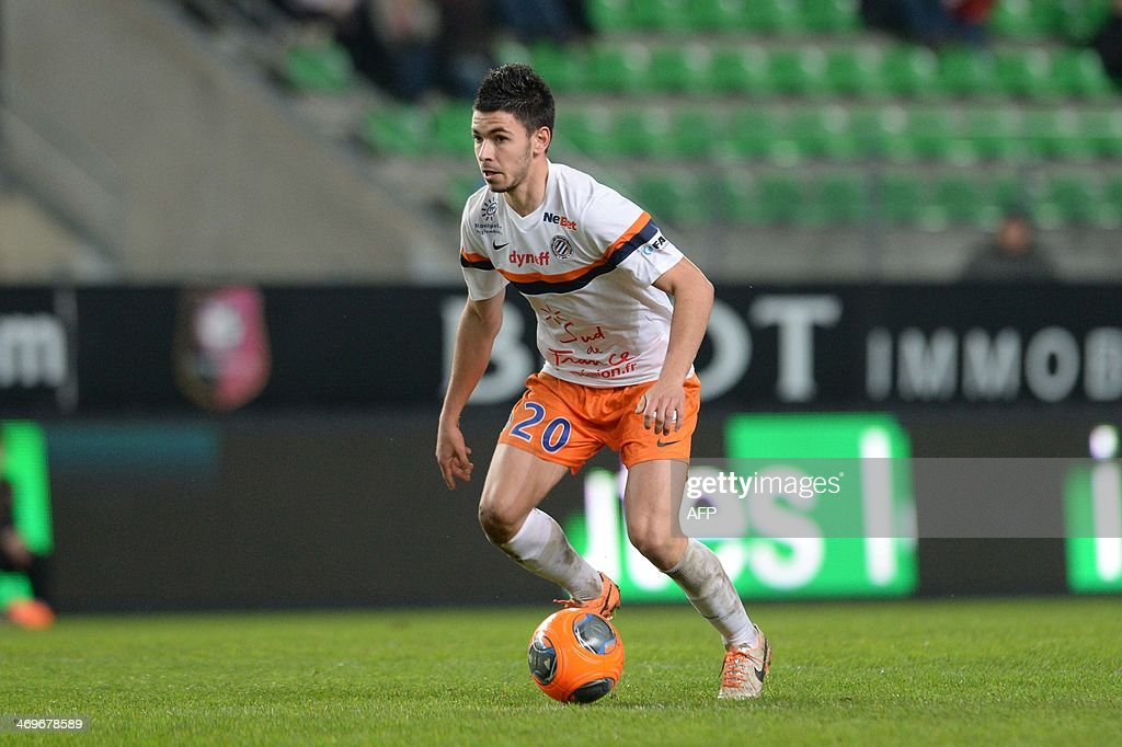 Montpellier's midfielder Morgan Sanson controls the ball during the French L1 football match between Rennes and Montpellier on February 15, 2014 at the Route de Lorient stadium in Rennes, western France.