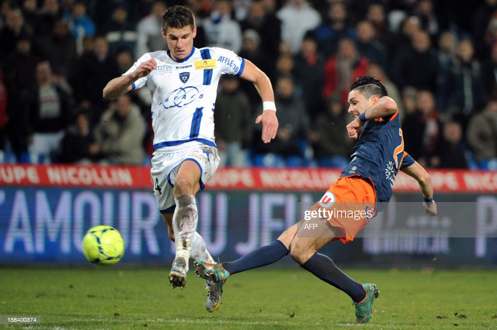 Montpellier's midfielder Remy Cabella (R) vies with Bastia's defender Jeremy Choplin (L) during the French Ligue 1 football match Montpellier (MHSC) vs Bastia on December 15, 2012 at the Mosson stadium in Montpellier, southern France.