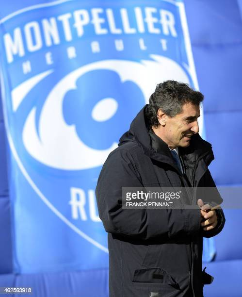 Montpellier's president Mohed Altrad looks on before the French Top 14 rugby union match between Montpellier and Union BordeauxBegles on January 31...