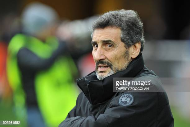 Montpellier's President Mohed Altrad looks on before the French Union Rugby match ASM Clermont vs MHR Montpellier at the Michelin stadium in...