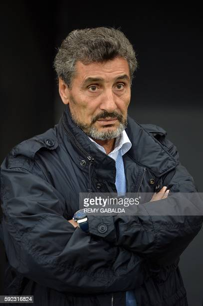 Montpellier's President Mohed Altrad looks on during the French Top 14 rugby union match between Toulouse and Montpellier on August 20 2016 at the...