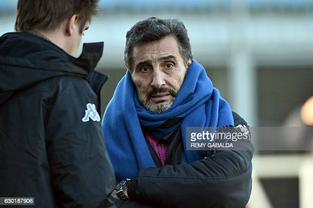 Montpellier's President Mohed Altrad looks on prior to the European Rugby Union Cup match between Castres and Montpellier on December 18 2016 at the...
