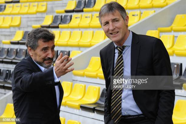 Montpellier's president Mohed Altrad speaks with La Rochelle's president Vincent Merling before the French Top 14 rugby union match La Rochelle vs...