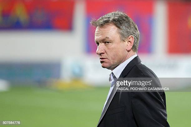 Montpellier's recently recruited French coach Frederic Hantz walks on the field before the French L1 football match between Gazelec Ajaccio and...