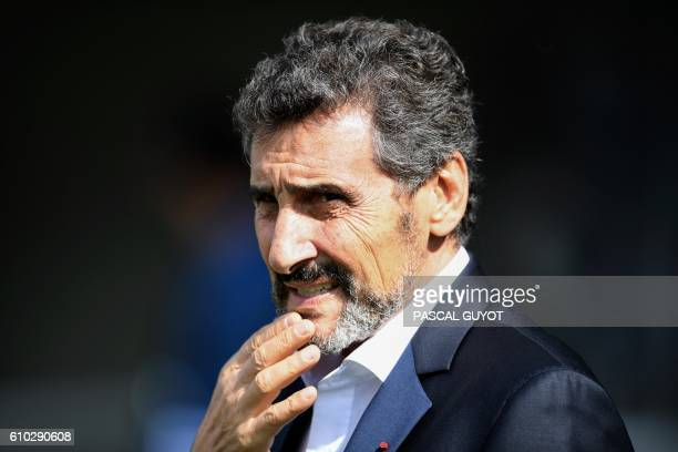 Montpellier's rugby club president Mohed Altrad waits for the start of the French Top 14 rugby union match between Montpellier and Brive at the...